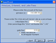 Setting up Principal, Interest Rate and Late Fees in the Loan Wizard